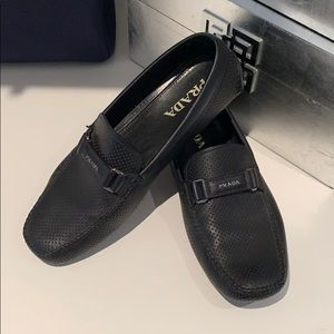 PRADA men's driving leather loafers